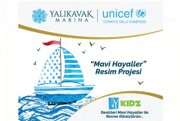 """UNİCEF, Yalıkavak Marina işbirliği ile 23 Nisan'ın 100. yıl dönümünde """"MAVİ HAYALLER"""" resim yarışması"""