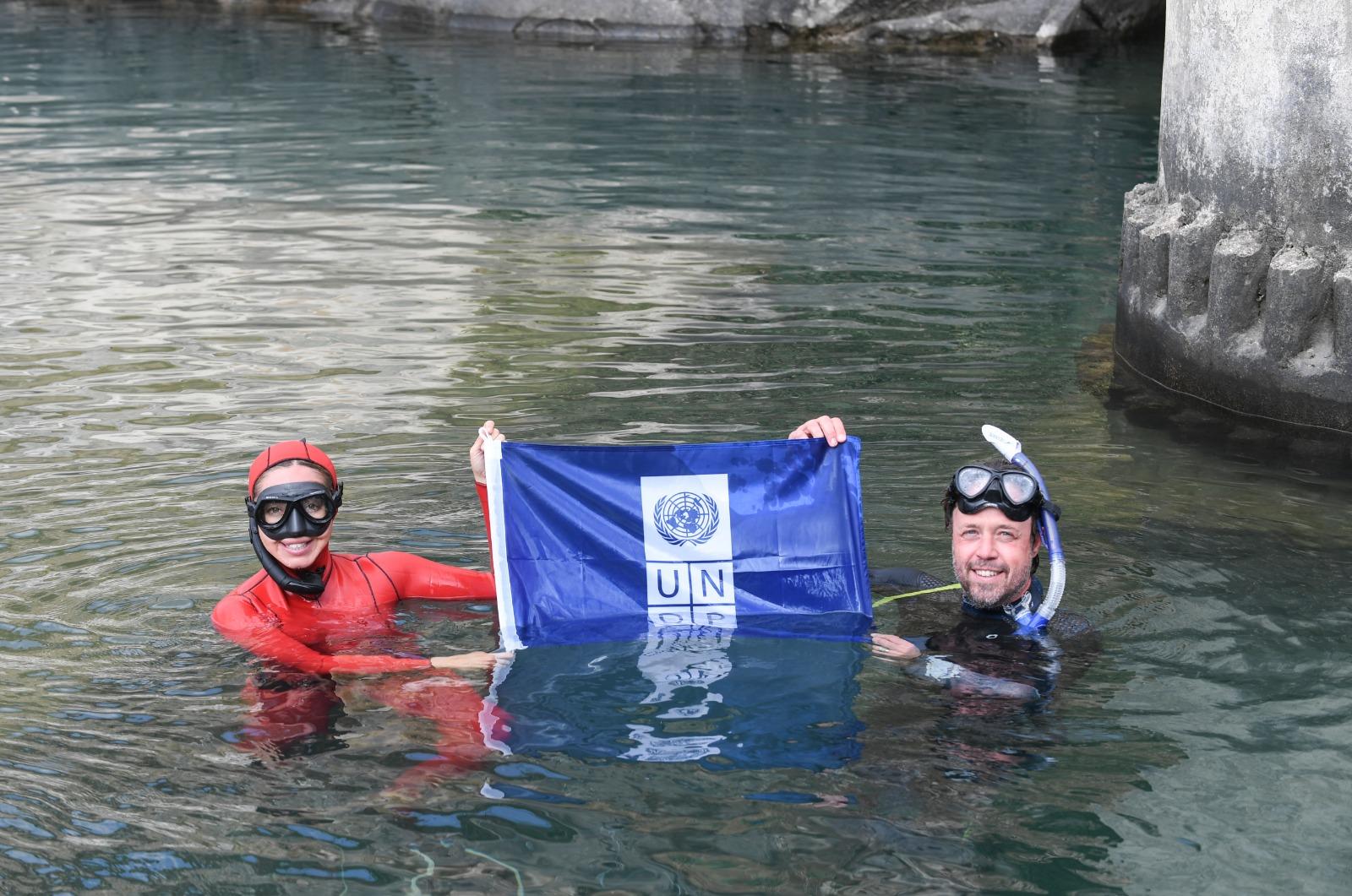 UNDP 'Sıfır Atık' Projesi için rekortmen sporcu Şahika Ercümen ile dalış gerçekleştirdi